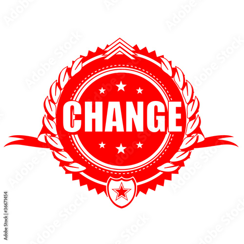 Change protest red emblem ribbon cockade illustration