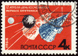 First soviet satellites on post stamp