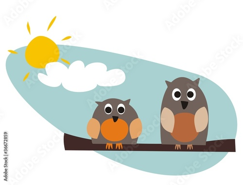 Poster Vogels, bijen Funny owls sitting on branch on a sunny day vector illustration