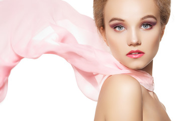 Beautiful romantic style of pretty girl with waving silk scarf