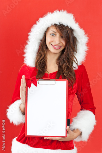 Christmas woman with an empty letter