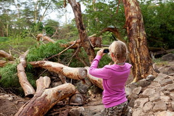 Young girl is taking photo on safari in Kenya