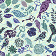 Seamless pattern with patch silhouettes
