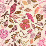 Fototapety Seamless pattern with patch silhouettes