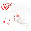 Angel kiss / red and white xmas cards