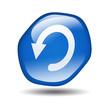 Boton brillante azul hexagonal simbolo reinicio