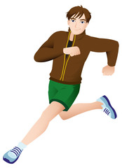 Sport Mascot Male Running Brown Jacket