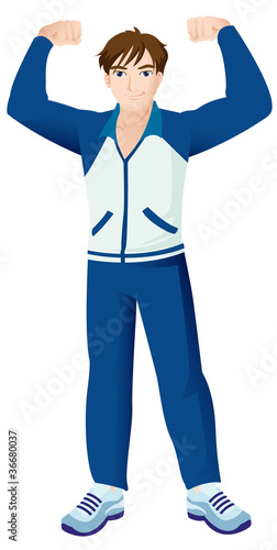 Sport Mascot Male Strong Blue Jacket