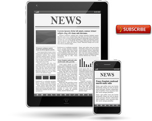 News on tablet pc and cell phone.