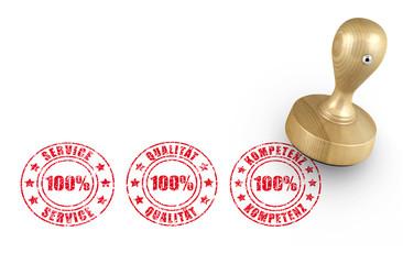 Service - Qualität - Kompetenz - Stempel
