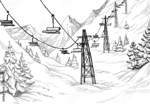 Mountain ski lift chairs pencil drawing - 36683482