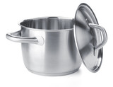 Fototapety Stainless steel pot with cover