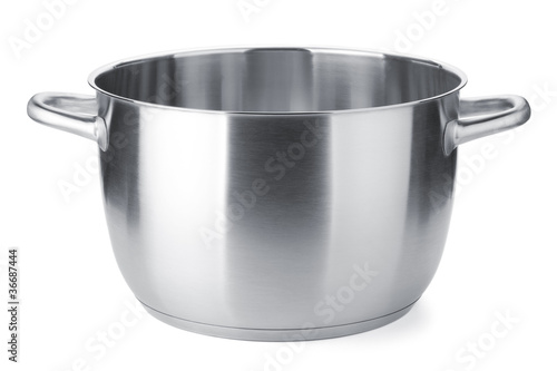 Leinwanddruck Bild Stainless steel pot without cover