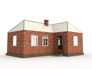 A brick house on a white surface №3
