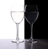 wine glasses on the black and white contrast background
