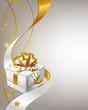 Geschenkbox mit Schleife und Sternen