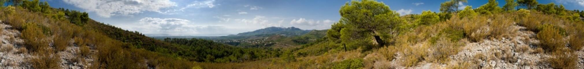 Mountain view in Spain. Full circular panorama