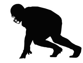 Silhouette American Football Player Scrimmage