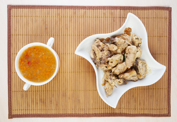 closeup soup, stew chicken napkins beautiful white dish
