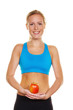 Frau mit Apfel Gymnastikanzug