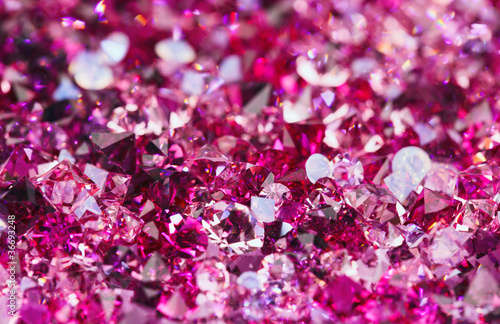 Poster Edelsteen Many small ruby diamond stones, luxury background shallow depth