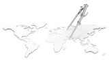 World Map. Paper Shape, thin. Divider and Pencil Compass