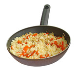 rice with a bow and carrot