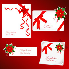 set of red gift bows with ribbons and red Poinsettia.