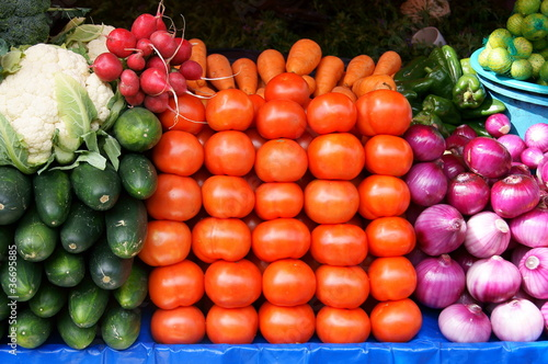 Vegetables for sale in Otavalo Market, Ecuador