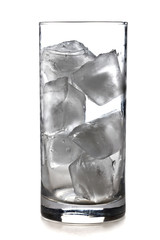 Glass of ice cubes isolated on white