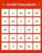 Adventskalender mit Zahlen