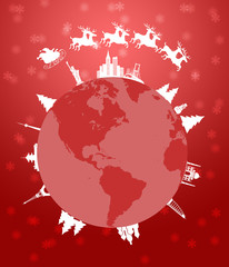 Santa Sleigh and Reindeer Flying Around the World Red