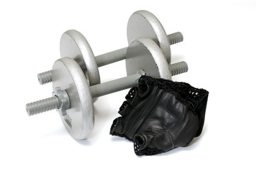 Dumbbells and Workout Gloves