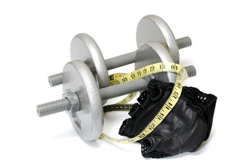Dumbbells,  Workout Gloves, and Measuring Tape.