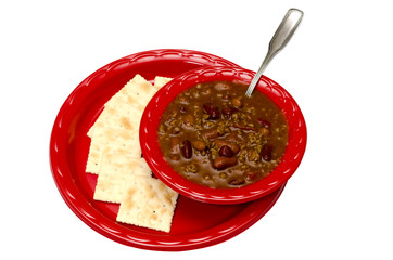 Chili with Crackers Isolated