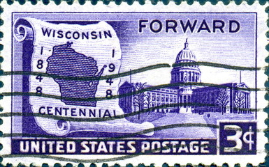 Wisconsin centennial. Forward. 1848-1948. US Postage.
