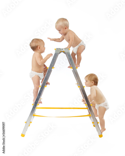 group of babies climbing on stepladder white background.
