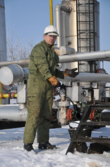 A worker in the oil and gas collectors,