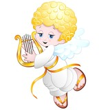 Angelo Bambino con Lira-Baby Angel Playing Lyre-Vector