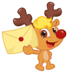 Cute Little Rudolph With Christmas Wish List
