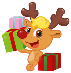 Cute Little Rudolph With Gift Box