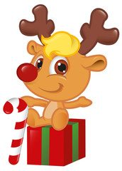 Cute Little Rudolph With Christmas Candy Cane
