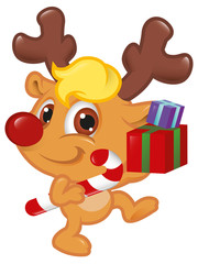 Cute Little Rudolph With Christmas Candy Cane and Box
