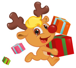Cute Little Rudolph Run With Gift Box