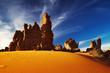 Bizarre sandstone cliffs in Sahara Desert, Tassili N
