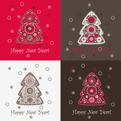 Set of four New Year festive backgrounds