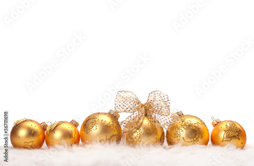 row of Christmas balls