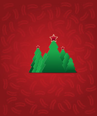 Vector Christmas tree with star - Greeting Card