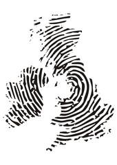 großbritannien, Landkarte mit Fingerabdruck