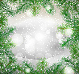 New Year background with green fir branches and snow